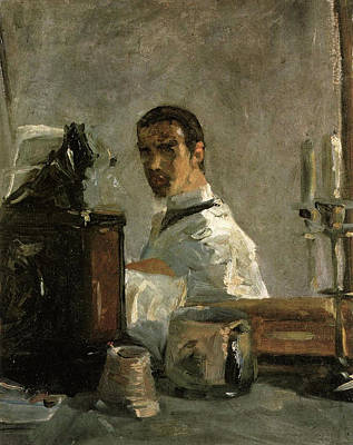 Teapot Painting - Self-portrait In Front Of A Mirror by Henri de Toulouse-Lautrec