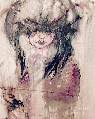 Self Portrait In Ink And Water Color Original by Rebecca  Lemke
