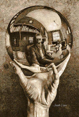 Library Digital Art - Self-portrait In Spherical Mirror By Escher Revisited - Da by Leonardo Digenio