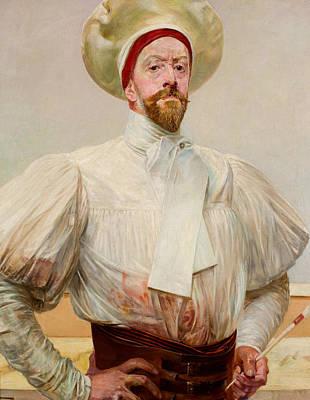 Painting - Self-portrait In White Dress by Jacek Malczewski