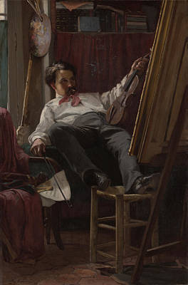 Artist Self Portrait Painting - Self - Portrait Of Artist In His Studio by Mountain Dreams