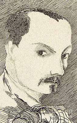 Gazing Drawing - Self Portrait Of Charles Baudelaire by Charles Baudelaire