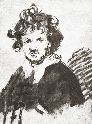 Self-portrait Drawing - Self Portrait Of Rembrandt Harmenszoon by Vintage Design Pics