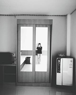Photograph - Self Portrait On Mirror Wardrobe by Sirikorn Techatraibhop
