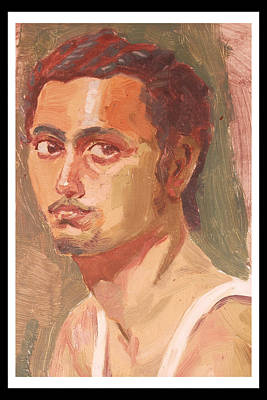 Maharashtra Painting - Self Portrait Sketch  by Makarand Joshi