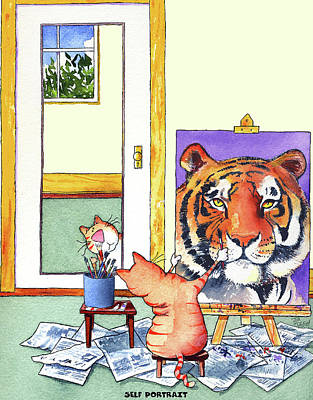 Big Cats Painting - Self Portrait, Tiger by Jim Tweedy
