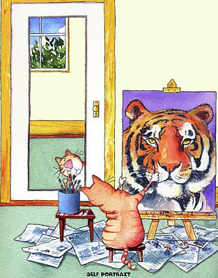 Portrait Wall Art - Painting - Self Portrait, Tiger by Jim Tweedy