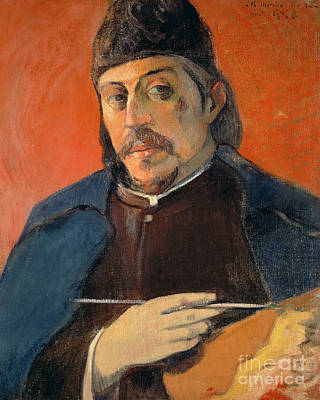 Hand Painted Art Work Painting - Self Portrait With A Palette by Paul Gauguin