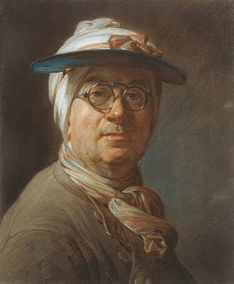 Pastel - Self-portrait With A Visor by Jean-Baptiste-Simeon Chardin