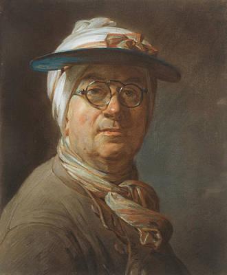 Self-portrait With A Visor Print by Jean-Baptiste-Simeon Chardin