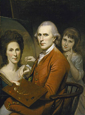 Painting - Self-portrait With Angelica And Portrait Of Rachel   by Charles Willson Peale