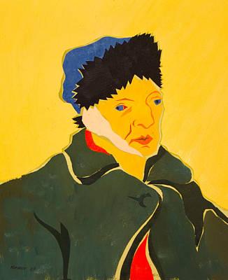 Self Portrait With Bandaged Ear. After Vincent Van Gogh Art Print by Vitali Komarov