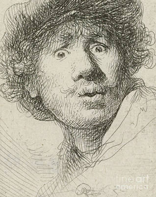Self-portrait With Beret And Wide-eyed, 1630 Art Print