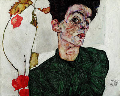 Top With Oil Painting - Self-portrait With Chinese Lantern Plant 1912 by Egon Schiele