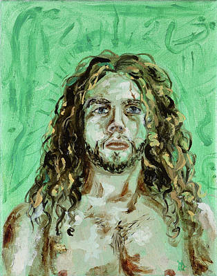 Painting - Self Portrait -with Emerald Green And Mummy Brown- by Ryan Demaree