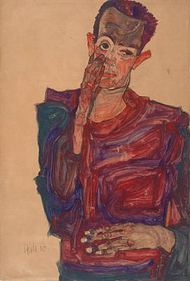 Top With Oil Painting - Self-portrait With Eyelid Pulled Down, 1910 by Egon Schiele