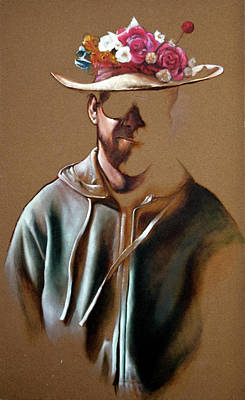 Painting - Self Portrait With Flowered Hat by Greg Kuppinger