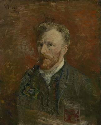 Painting - Self Portrait With Glass Paris, January 1887 Vincent Van Gogh 1853  1890 by Artistic Panda
