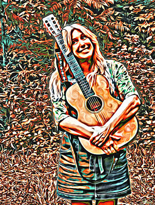 Digital Art - Self Portrait With Guitar by Lise Winne