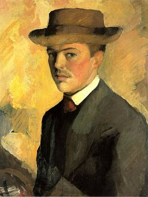 Painting - Self Portrait With Hat by August Macke