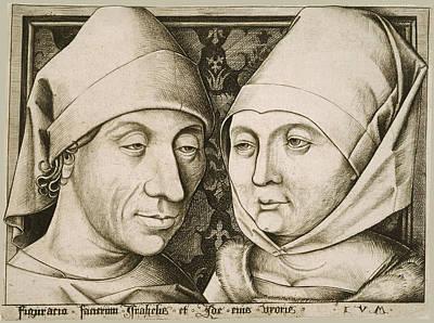 Drawing - Self-portrait With His Wife Ida by Israhel van Meckenem