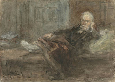 Jozef Israels Painting - Self Portrait With Injured Foot by Jozef Israels