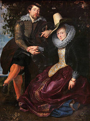 Self Portrait Painting - Self Portrait With Isabella Brandt, His First Wife, In The Honey by Peter Paul Rubens