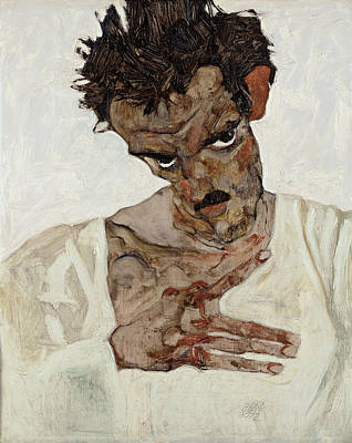 Top With Oil Painting - Self-portrait With Lowered Head 1912 by Egon Schiele