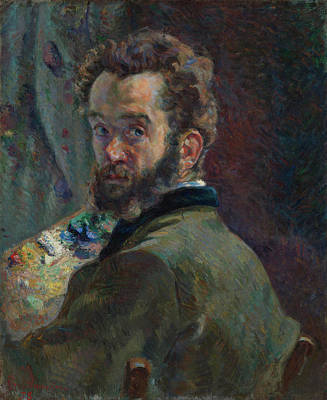Seated Painting - Self-portrait With Palette by Armand Guillaumin