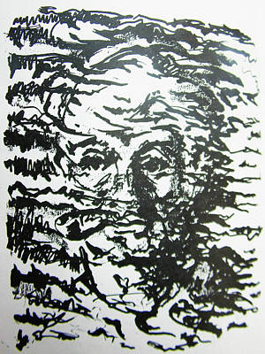 Abstract Shapes Drawing - Self-portrait With Pipe by Willoughby Senior