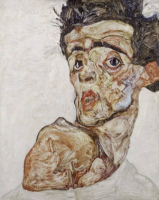 Top With Oil Painting - Self-portrait With Raised Bare Shoulder 1912 by Egon Schiele