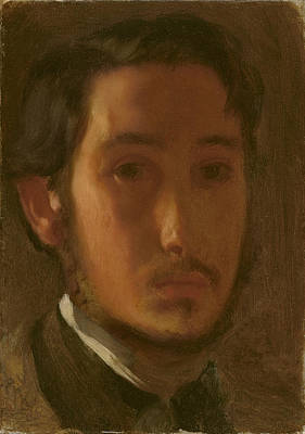 Artist Self Portrait Painting - Self-portrait With White Collar by Edgar Degas