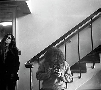 Photograph - Self-portrait, With Woman, In Mirror, Cropped, 1972 by Jeremy Butler