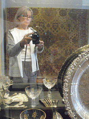 Woman With Cameras Photograph - Selfie At An Art Auction by Nancy Kane Chapman
