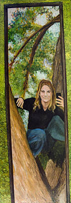 Painting - Selfie Portrait Of Rachel Fields by Ron Richard Baviello
