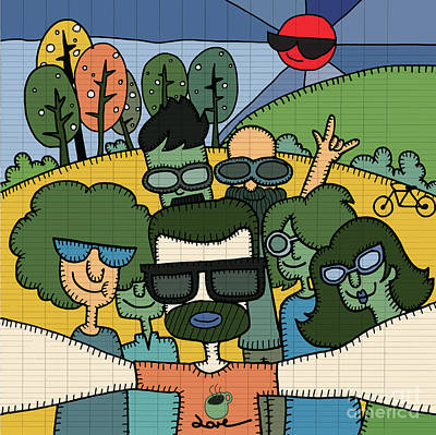 Self Shot Digital Art - Selfie Teenagers Hipster Taking Pictures In The Green Field by Pakpong Pongatichat
