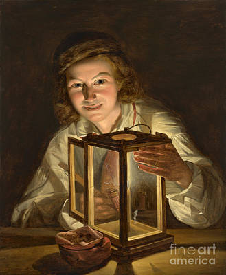 Selfportrait With A Lantern Art Print by Celestial Images