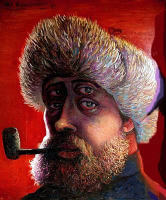 Roussimoff Wall Art - Painting - Selfportrait With Pipe by Ari Roussimoff