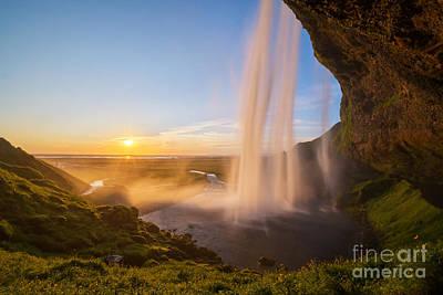 Seljalandsfoss Sunset Iceland Art Print