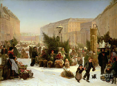 Painting - Selling Christmas Trees by David Jacobsen