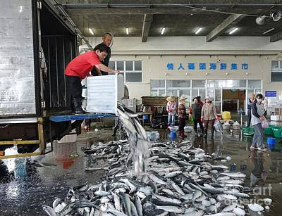 Print featuring the photograph Selling Grey Mullet Fish In Taiwan by Yali Shi