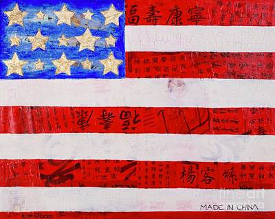 Us Flag Mixed Media - Selling Our Souls by Kim O'Brien