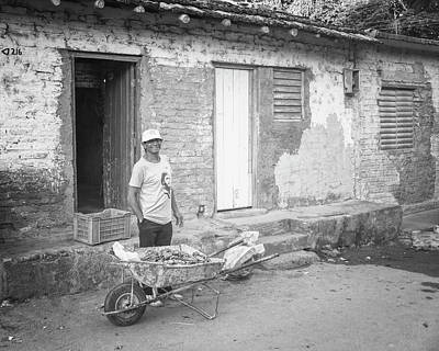 Selling Peppers In Trinidad Cuba Bw Matte Art Print