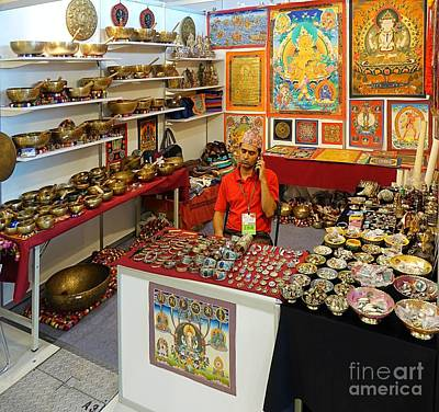 Photograph - Selling Tibetan Religious Artifacts by Yali Shi