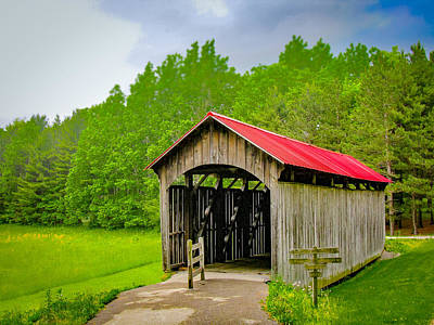 Music Royalty-Free and Rights-Managed Images - Sells Covered Bridge  Covered Bridge  by Jack R Perry