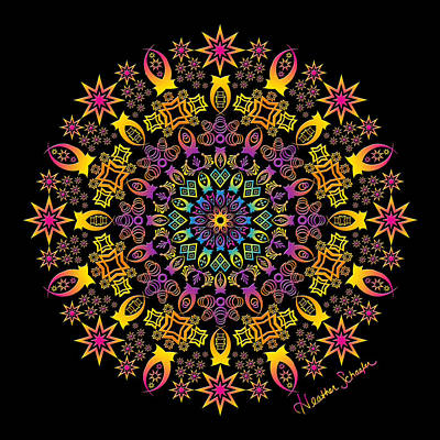 Digital Art - Semi-tribal Rotation by Heather Schaefer