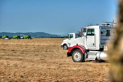 Photograph - Semi Trucks Ready by Jerry Sodorff