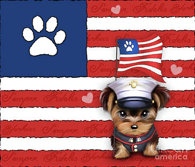 Art Print featuring the painting Semper Fidelis Yorkie Marine by Catia Lee