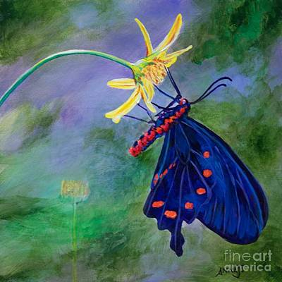 Flora And Fauna Painting - Semperi Swallowtail Butterfly by AnnaJo Vahle