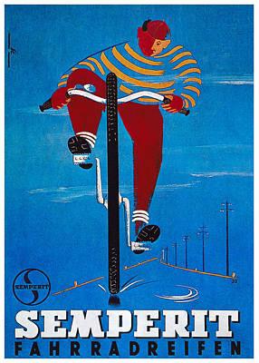 Mixed Media - Semperit Fahrradreifen - Bicycle Tyre - Vintage Advertising Poster by Studio Grafiikka